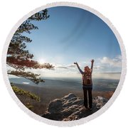 Happy Female Hiker At The Summit Of An Appalachian Mountain Round Beach Towel