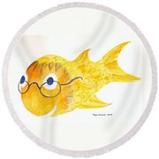 Happy Fish With Glasses Round Beach Towel by Fred Jinkins