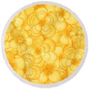 Happy Flower Cloud In Yellow Round Beach Towel