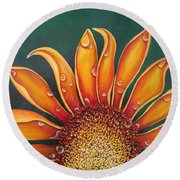 Happy Flower Round Beach Towel
