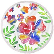 Happy Flowers Watercolor Silhouettes  Round Beach Towel