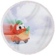 Happy Flying Round Beach Towel