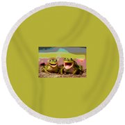 Round Beach Towel featuring the mixed media Happy Frog by Charles Shoup