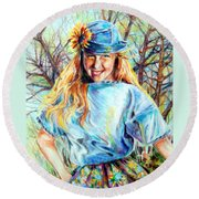 Happy Girl Round Beach Towel