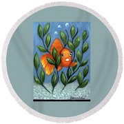 Round Beach Towel featuring the painting Happy Goldfish by Sandra Estes