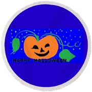Happy Halloween 1 Round Beach Towel by Linda Velasquez