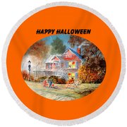 Round Beach Towel featuring the painting Happy Halloween by Bill Holkham