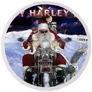 Happy Harley Days Round Beach Towel