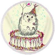 Happy Hedgehog Birthday Round Beach Towel by Denise Fulmer