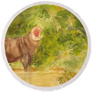 Round Beach Towel featuring the painting Happy Hippo by Vicki  Housel