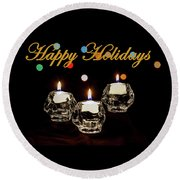 Round Beach Towel featuring the photograph Happy Holiday Candles by Ed Clark