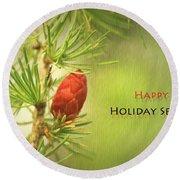 Happy Holiday Season Card Round Beach Towel by Aimelle