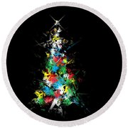 Happy Holidays - Abstract Tree - Horizontal Round Beach Towel