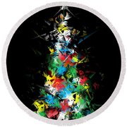 Happy Holidays - Abstract Tree - Vertical Round Beach Towel