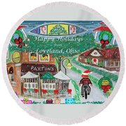 Round Beach Towel featuring the painting Happy Holidays From Loveland, Ohio by Diane Pape