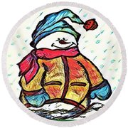 Happy Holidays Snowman Round Beach Towel by MaryLee Parker
