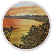 Round Beach Towel featuring the painting Happy Hour by Joel Deutsch