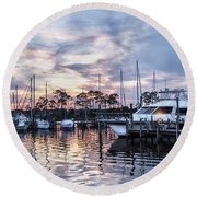 Happy Hour Sunset At Bluewater Bay Marina, Florida Round Beach Towel