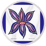 Happy Lily Bloom Round Beach Towel