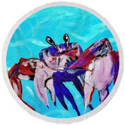 Happy Little Crab  Round Beach Towel by Scott D Van Osdol