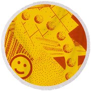 Happy Round Beach Towel