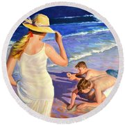 Happy Moment Round Beach Towel