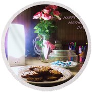 Round Beach Towel featuring the photograph Happy Mothers Day by Denise Fulmer