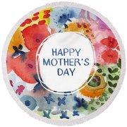 Happy Mothers Day Watercolor Garden- Art By Linda Woods Round Beach Towel