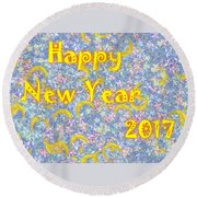 Happy New Year 2017 Round Beach Towel