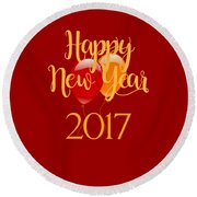 Round Beach Towel featuring the digital art Happy New Year 2017 With Balloons by Heidi Hermes