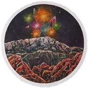 Happy New Year From America's Mountain Round Beach Towel
