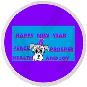 Happy New Year Round Beach Towel by Linda Velasquez
