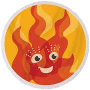 Happy Orange Burning Fire Character Round Beach Towel