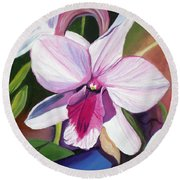 Happy Orchid Round Beach Towel by Marionette Taboniar