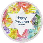 Round Beach Towel featuring the mixed media Happy Passover Floral- Art By Linda Woods by Linda Woods