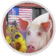 Happy Pig  Round Beach Towel by Julianne Ososke