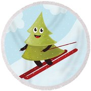 Happy Pine Tree On Ski Round Beach Towel