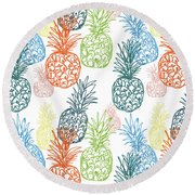 Happy Pineapple- Art By Linda Woods Round Beach Towel by Linda Woods