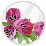 Round Beach Towel featuring the photograph Happy Pink by Marie Leslie