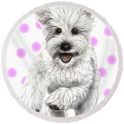 Round Beach Towel featuring the drawing Happy Pink Polka Dots Doggy  by Heidi Kriel