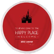 Happy Place Round Beach Towel