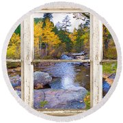 Happy Place Picture Window Frame Photo Fine Art Round Beach Towel