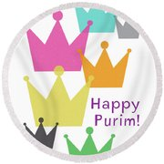 Round Beach Towel featuring the mixed media Happy Purim Crowns - Art By Linda Woods by Linda Woods