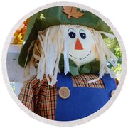 Happy Scarecrow Round Beach Towel