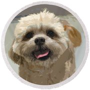 Happy Shih Tzu Round Beach Towel