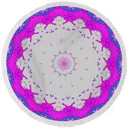 Happy Round Beach Towel by Shirley Moravec