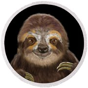 Happy Three Toe Sloth Round Beach Towel