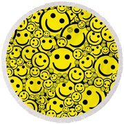 Happy Smiley Faces Round Beach Towel