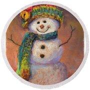 Happy Snowman Round Beach Towel