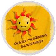 Happy Sun Face Round Beach Towel